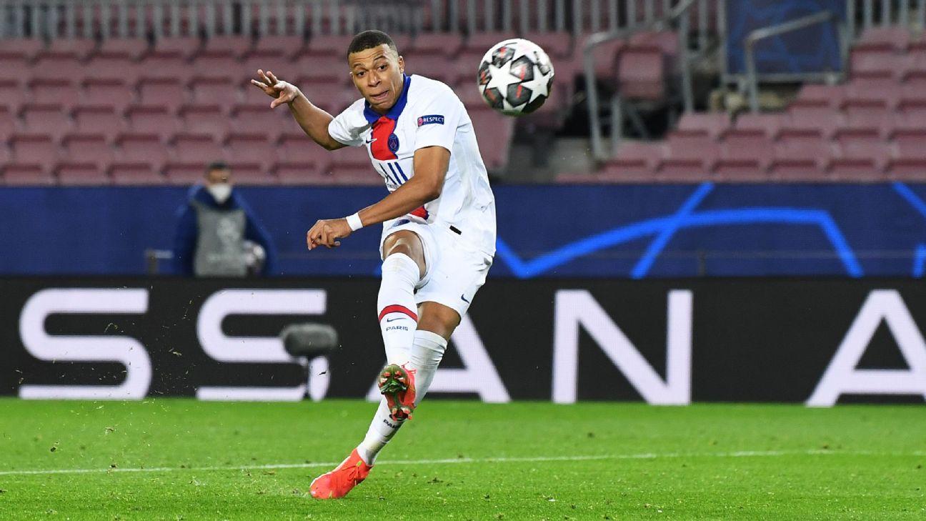 Mbappé em ação com a camisa do Paris Saint-Germain