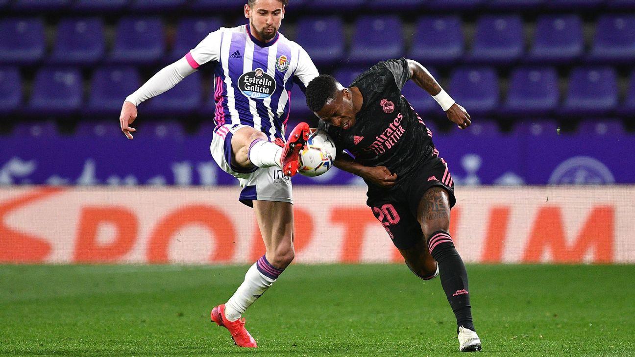 Vinicius Jr. em ação contra o Real Valladolid