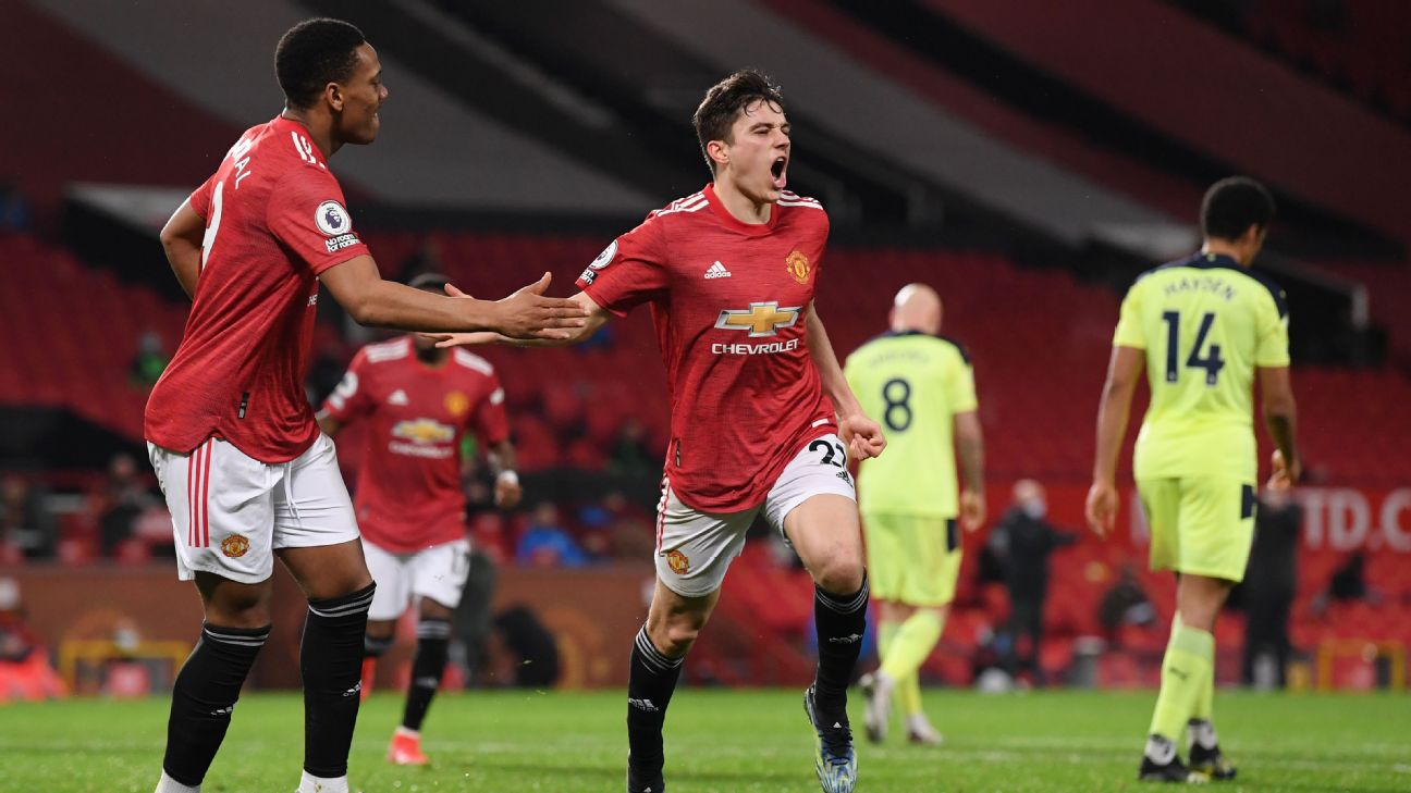 Daniel James comemora gol pelo Manchester United no Old Trafford