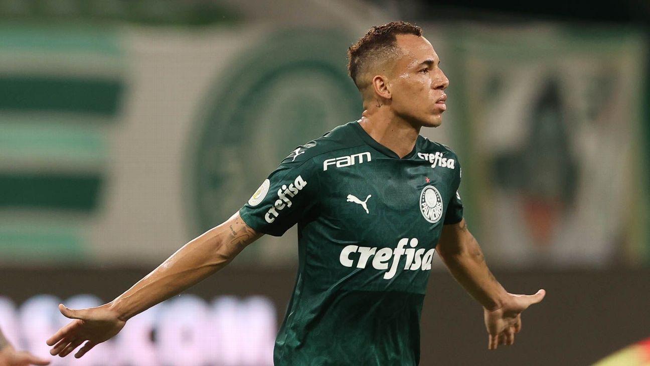 Breno Lopes comemora após marcar para o Palmeiras sobre o Fortaleza