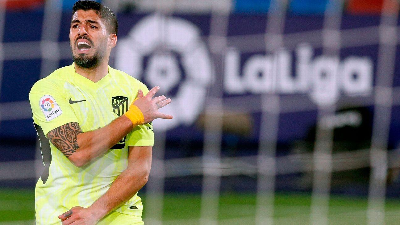 Luis Suárez durante jogo entre Atlético de Madrid e Levante, por LaLiga