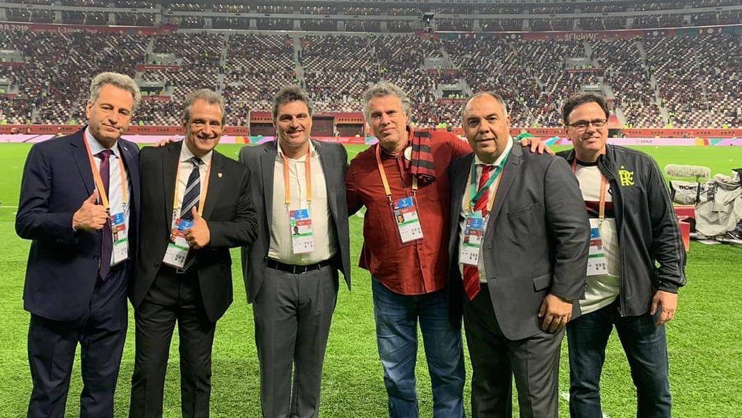 Da esquerda para direita: Rodolfo Landim, Luiz Eduardo Batista, Bruno Spindel, Gustavo Oliveira e Rodrigo Dunshee