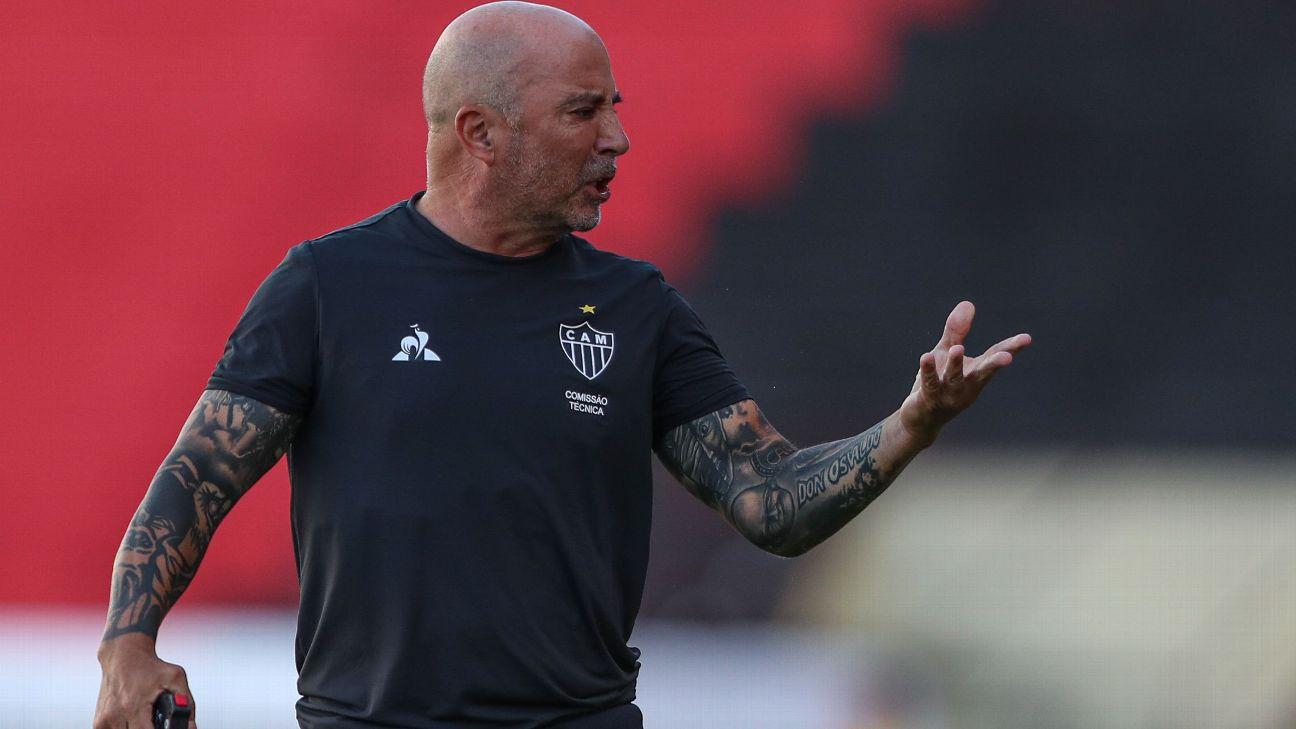 Jorge Sampaoli durante jogo entre Atlético-MG e Sport, pelo Brasileirão