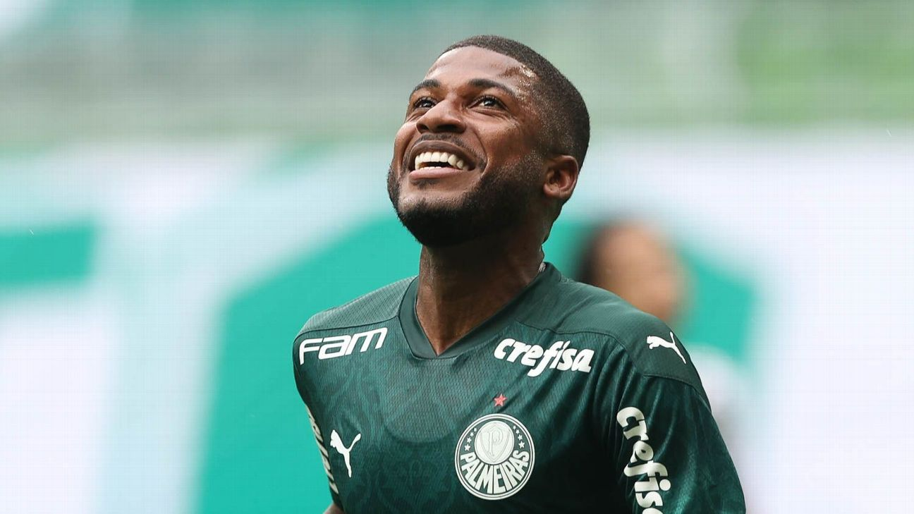Emerson Santos comemora após marcar para o Palmeiras sobre o Botafogo