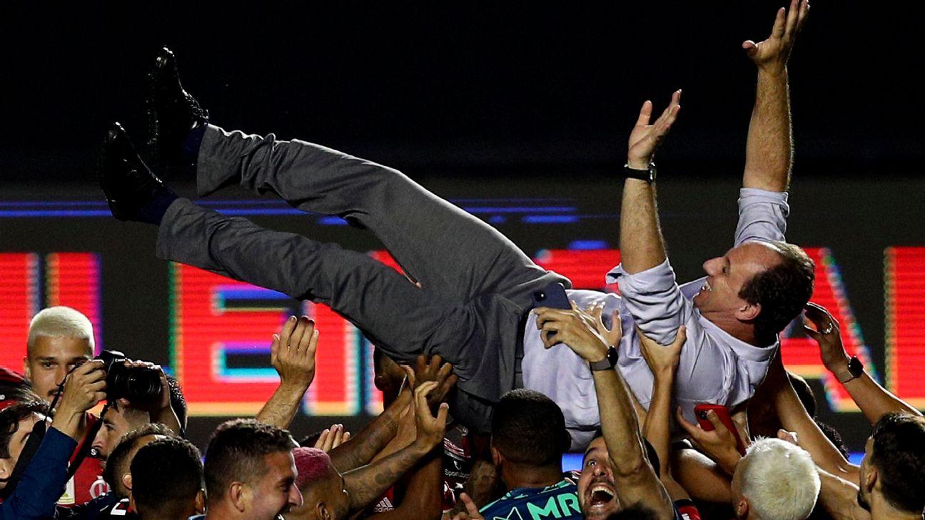 Rogério Ceni e jogadores do Flamengo comemoram a conquista do Brasileiro