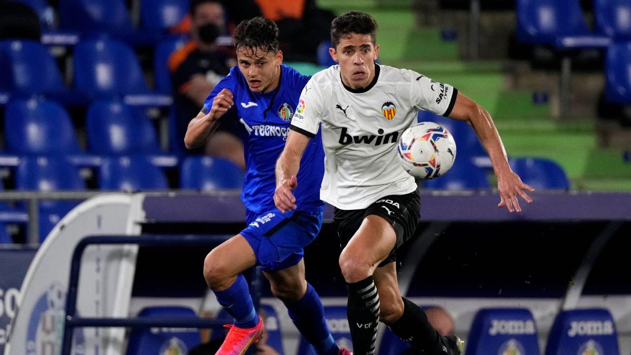 Gabriel Paulista na partida entre Getafe e Valencia pelo Campeonato Espanhol