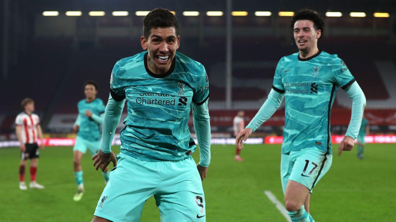 Robert Firmino e Curtis Jones comemoram gols pelo Liverpool sobre o Sheffield, na Premier League