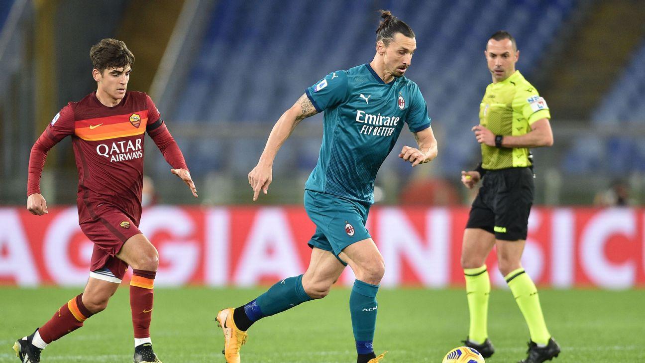 Ibrahimovic na partida entre Roma e Milan pelo Campeonato Italiano