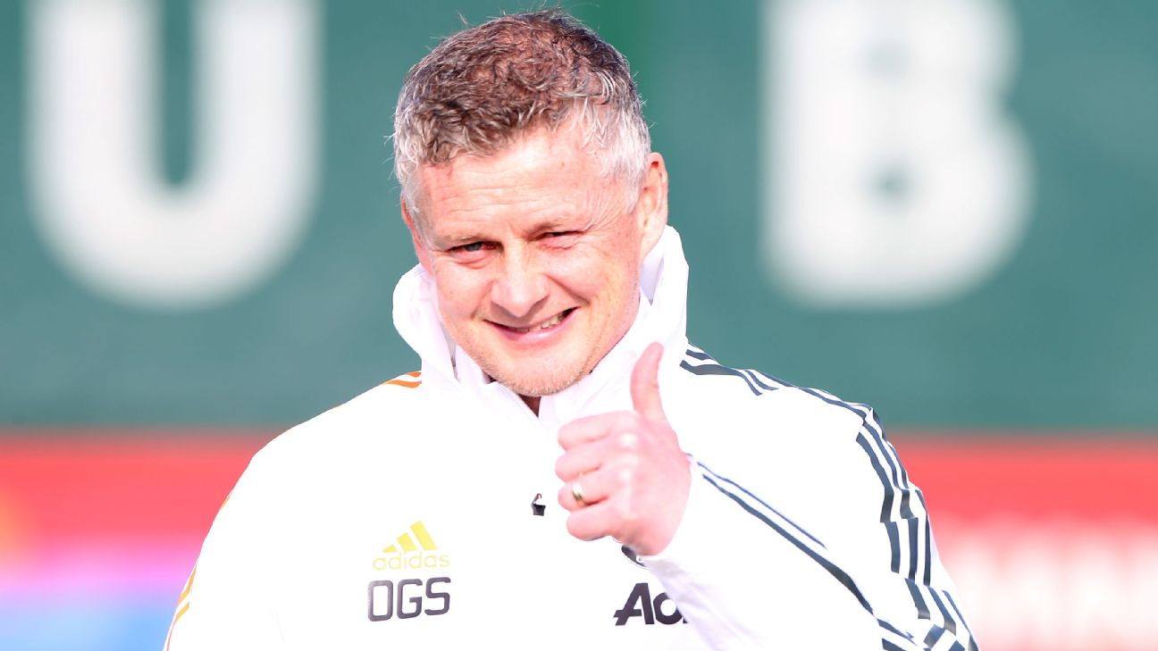 Ole Gunnar Solsjkaer durante treinamento do Manchester United