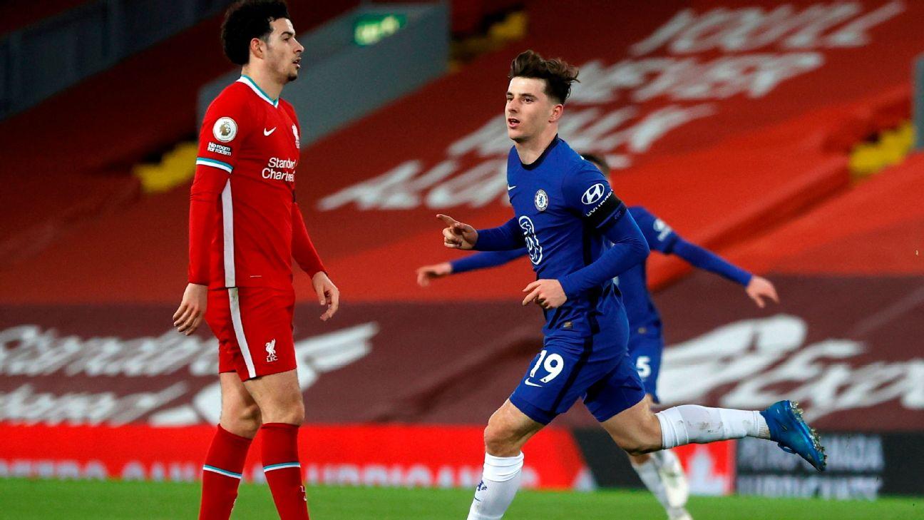 Mount comemora após marcar para o Chelsea sobre o Liverpool