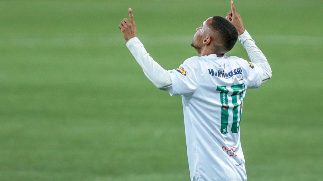 Ademir comemora após marcar para o América-MG sobre o Palmeiras