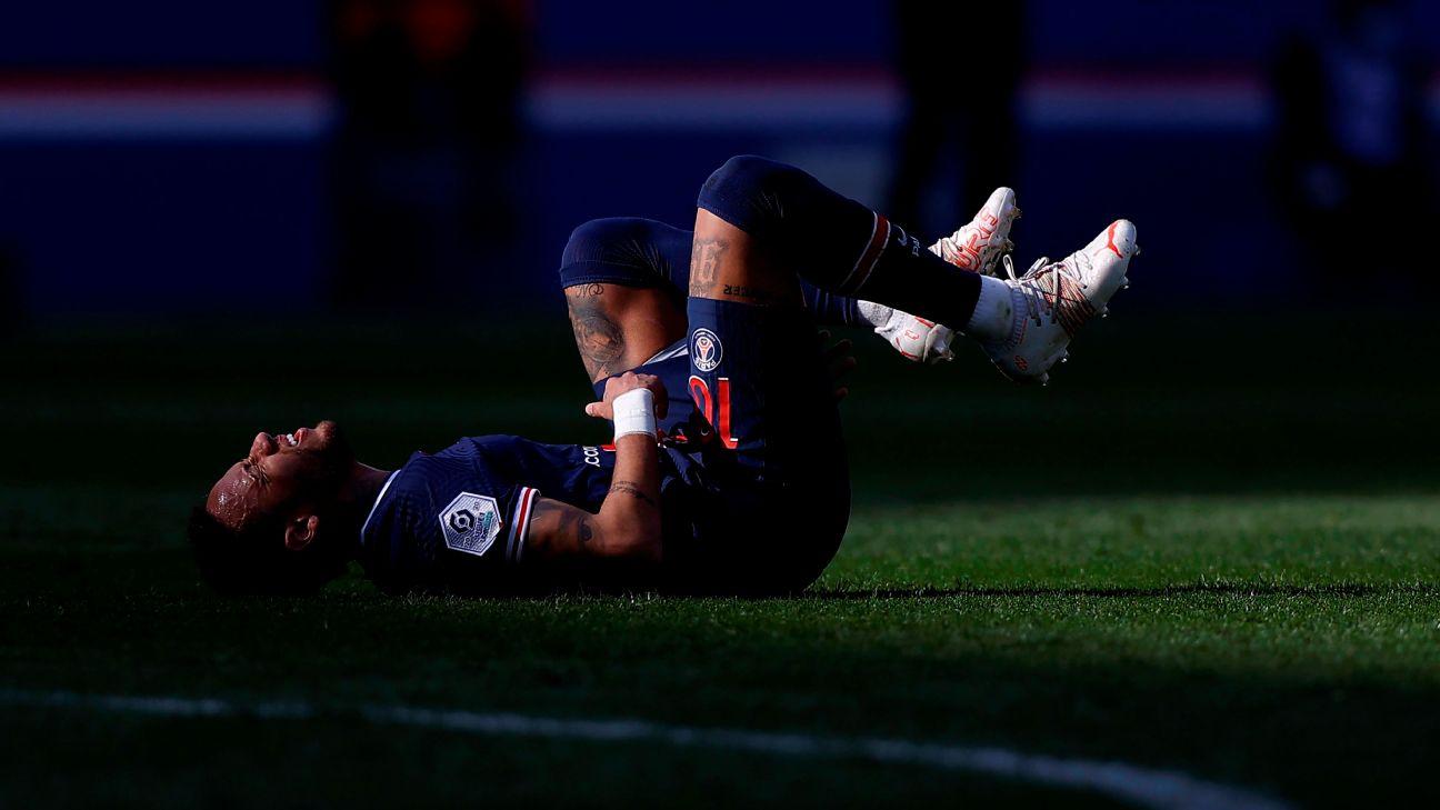 Neymar sente dores durante jogo entre PSG e Lille, pela Ligue 1
