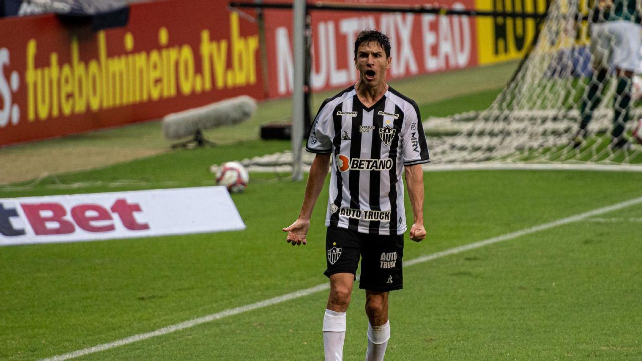 Nacho Fernández comemorando gol pelo Atlético-MG contra o América-MG pelo Campeonato Mineiro