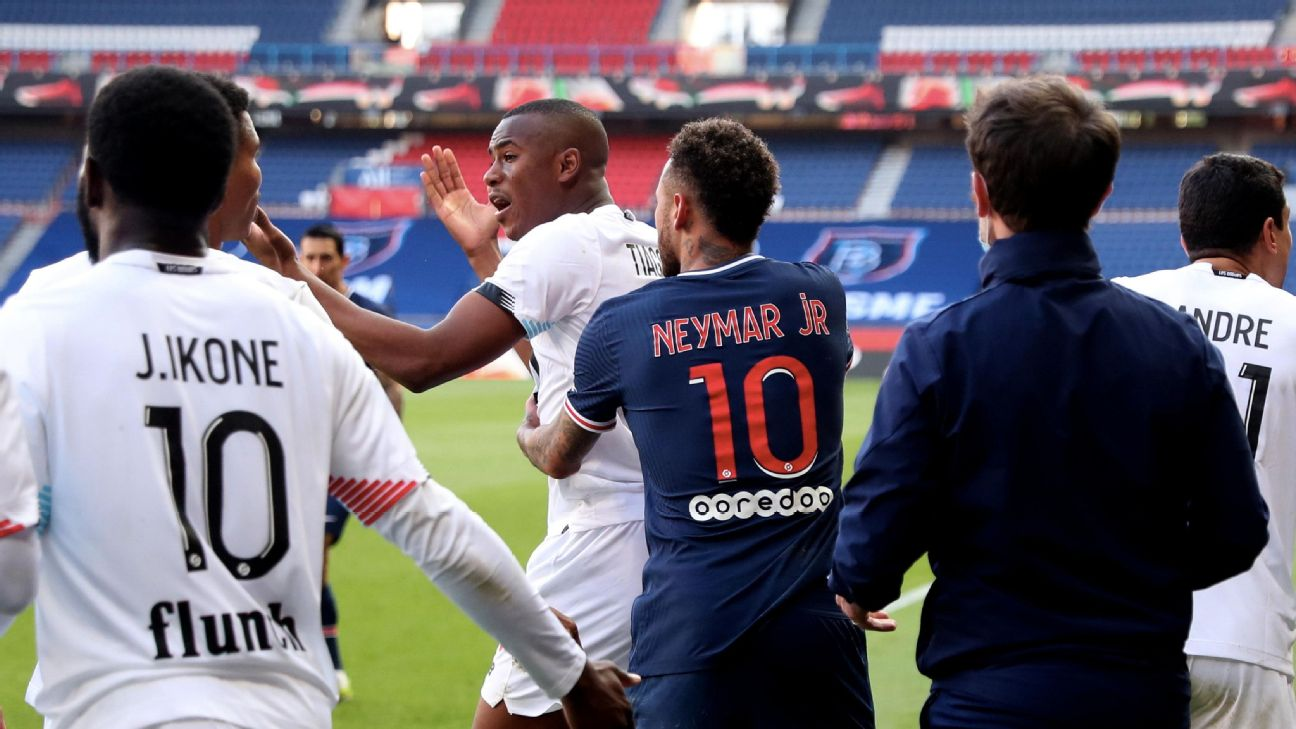 Neymar e Djalo em PSG x Lille