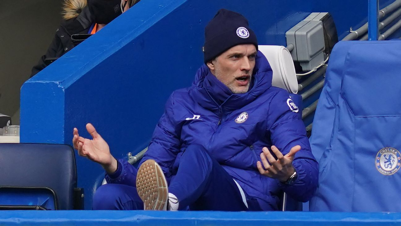 Thomas Tuchel durante a derrota do Chelsea para o West Bromwich na Premier League