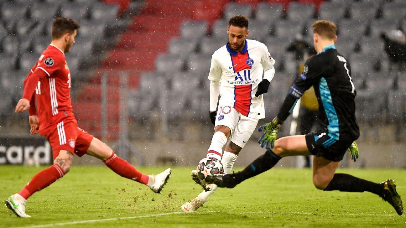 Neymar tenta finalização durante jogo entre PSG e Bayern, pela Champions