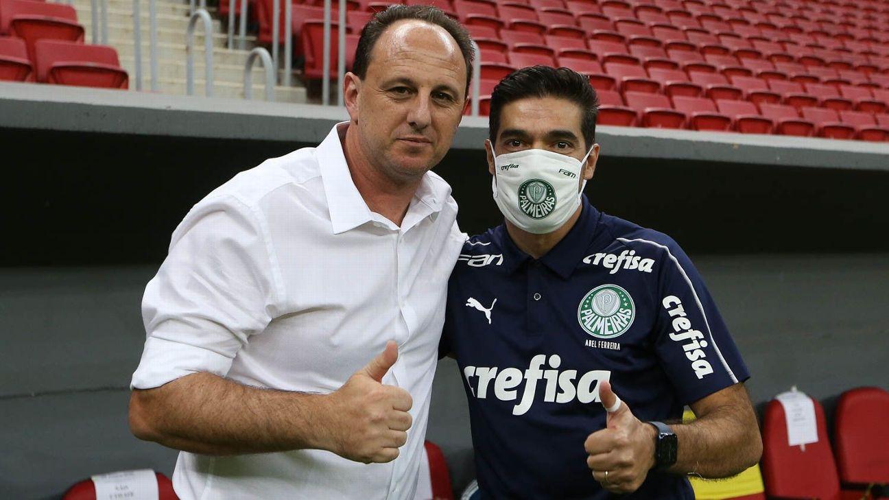 Rogério Ceni e Abel Ferreira antes de duelo pelo Brasileirão