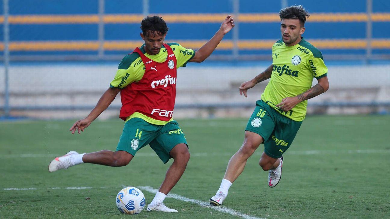 Gustavo Scarpa durante treino do Palmeiras, em Brasília