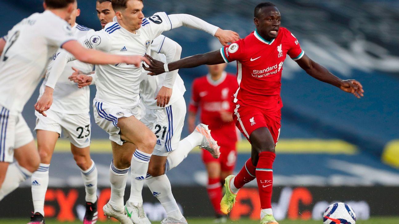 Mané durante jogo entre Liverpool e Leeds United, pela Premier League