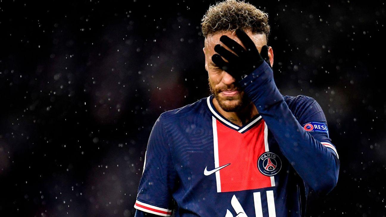 Neymar lamenta derrota do PSG para o Manchester City, pela Champions