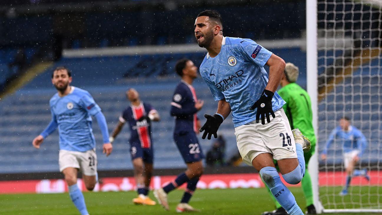 Mahrez comemorando gol marcado na partida entre Manchester City x PSG pela Champions League
