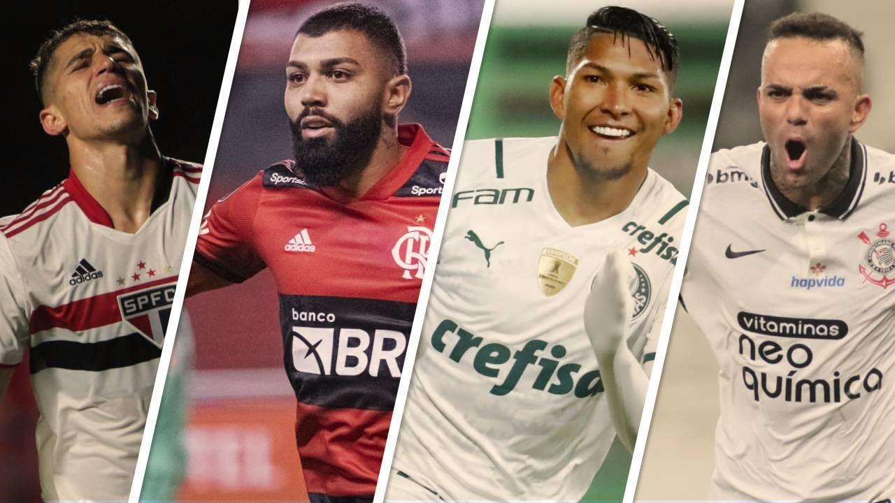 Vitor Bueno, do São Paulo; Gabigol, do Flamengo; Rony, do Palmeiras; e Luan, do Corinthians