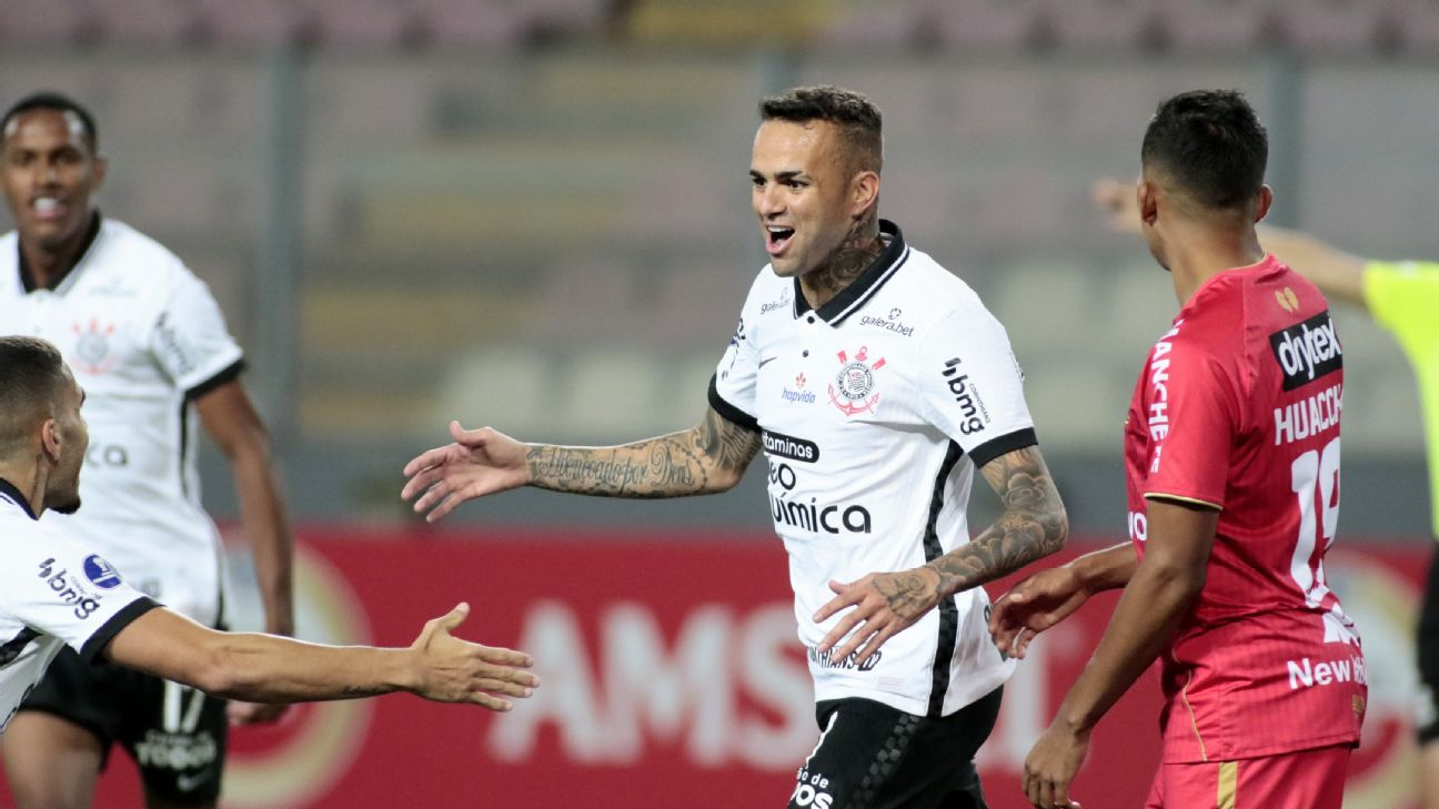 Luan comemorando gol marcado pelo Corinthians