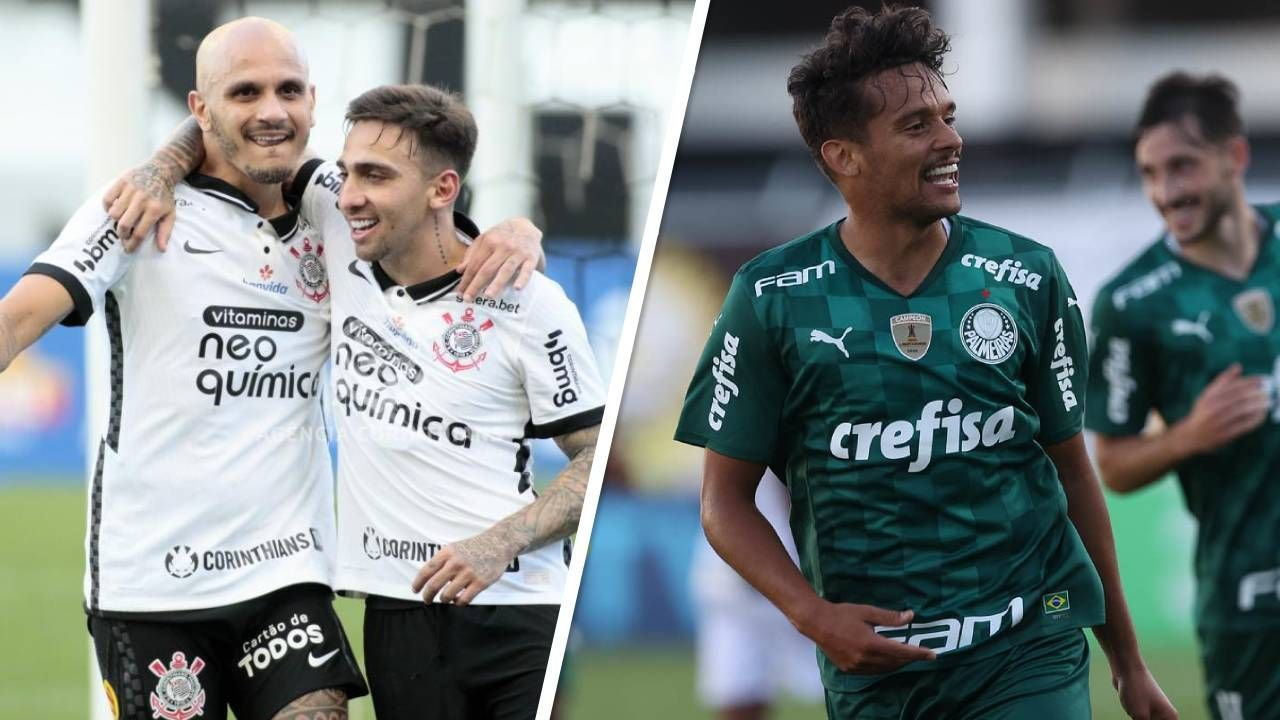 Mosaico: Fábio Santos comemora gol do Corinthians, e Gustavo Scarpa, do Palmeiras