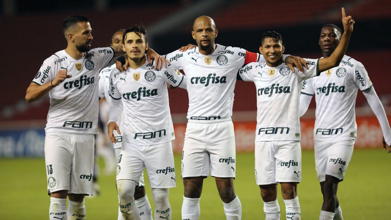Jogadores do Palmeiras comemoram gol sobre o Del Valle