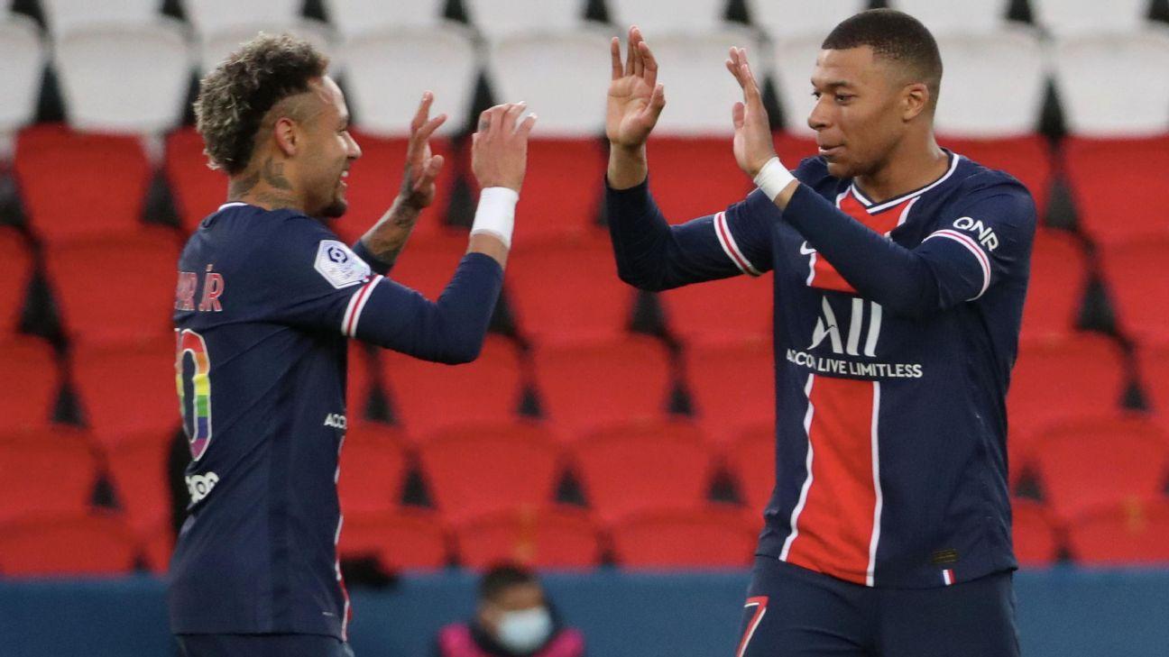 Neymar e Mbappé celebram gol do PSG