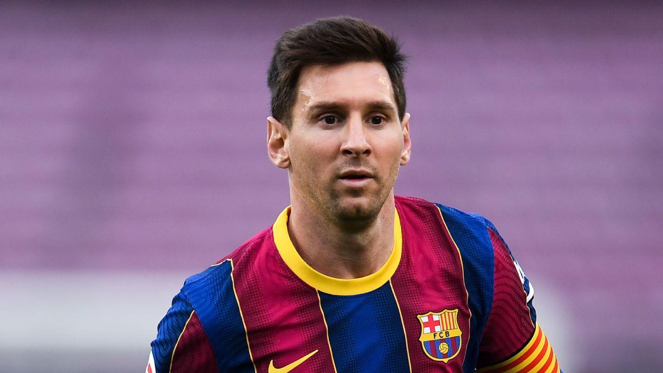 Lionel Messi durante partida no Barcelona em LaLiga 2020/21