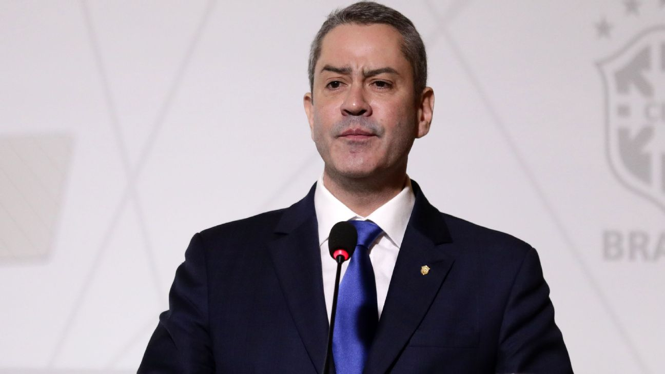 Rogério Caboclo durante sua posse como presidente da CBF, em 2018