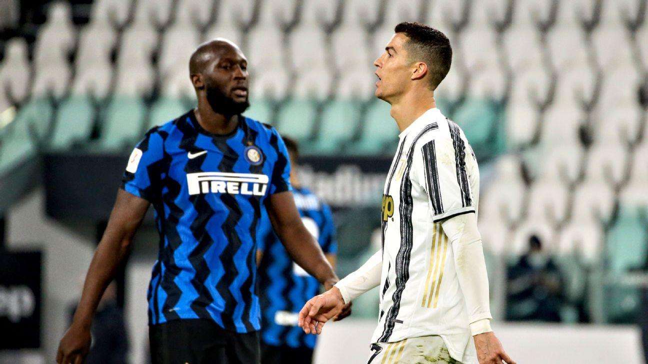 Lukaku e Cristiano Ronaldo na partida entre Inter de Milão e Juventus