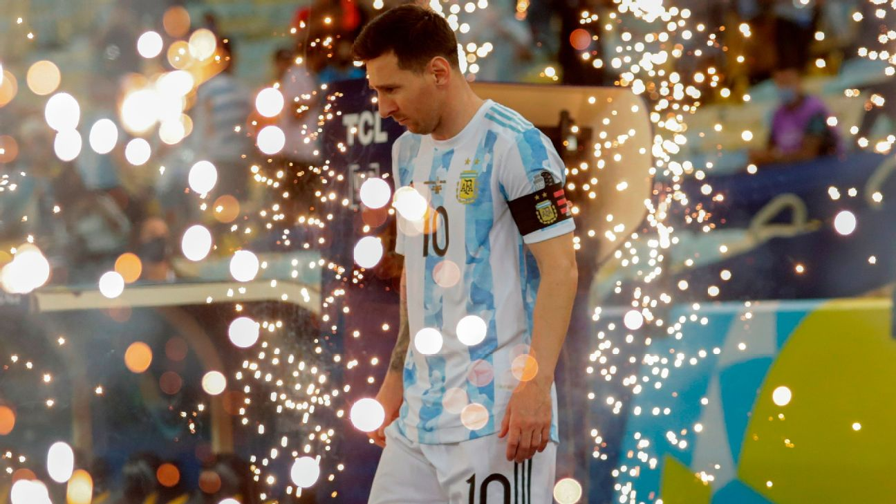 Messi antes da final da Copa América entre Argentina e Brasil