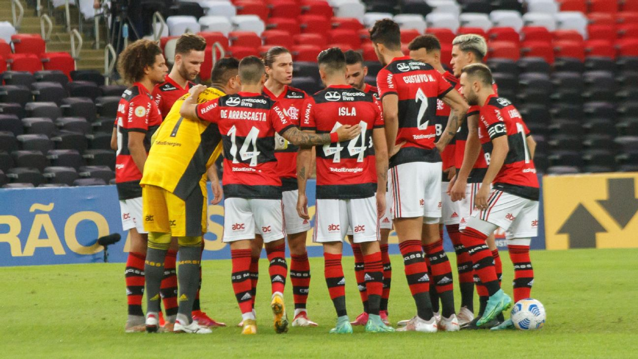 Time do Flamengo contra a Chapecoense