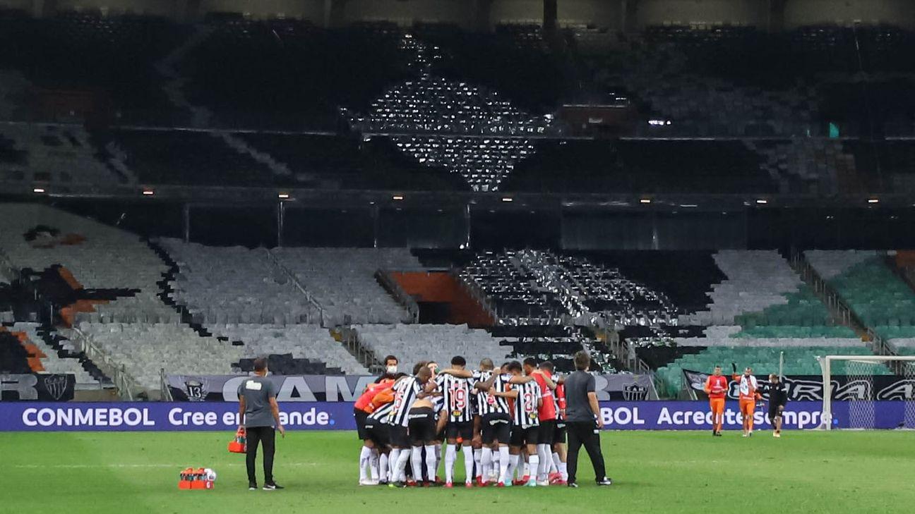 Jogadores do Atlético-MG reunidos no Mineirão pela Libertadores
