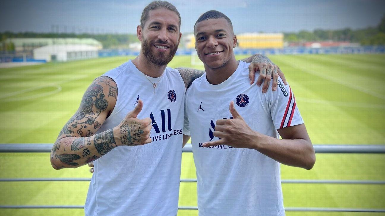 Sergio Ramos postou foto ao lado de Mbappé em suas redes sociais
