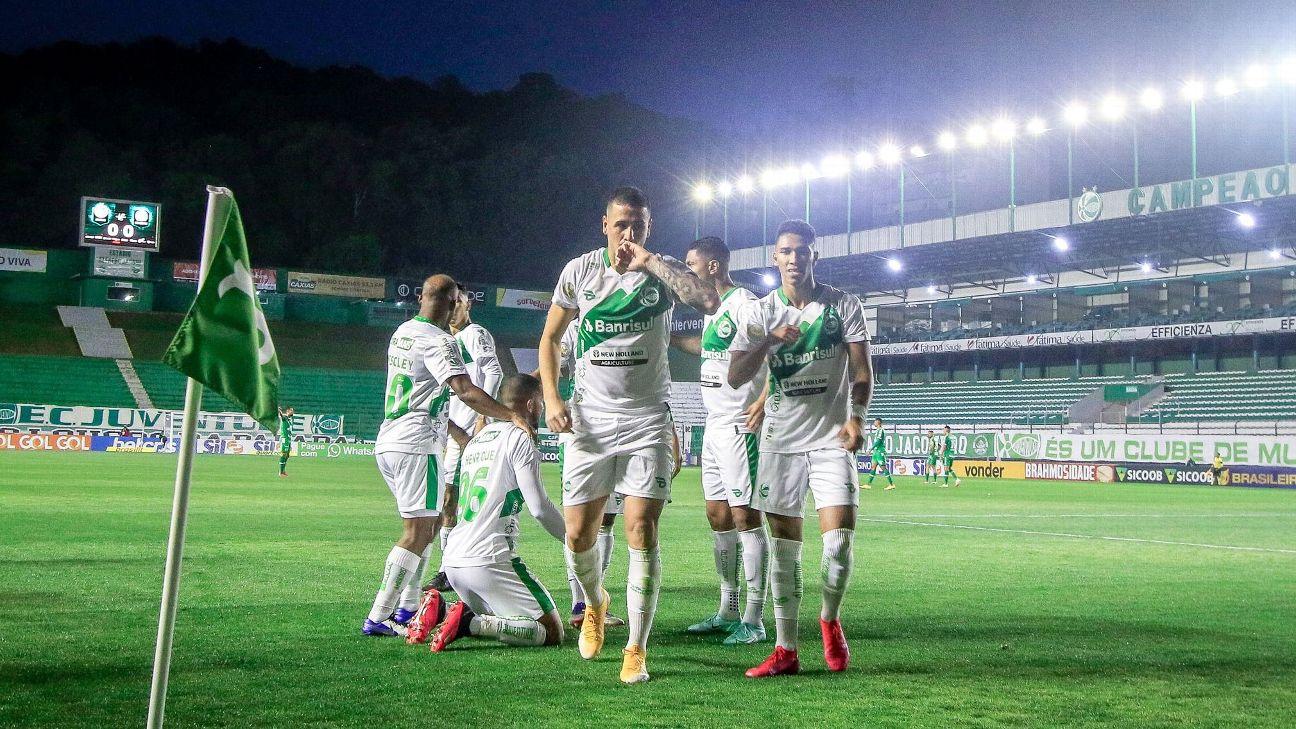 Matheus Peixoto comemora gol contra a Chapecoense no Alfredo Jaconi pelo Brasileirão