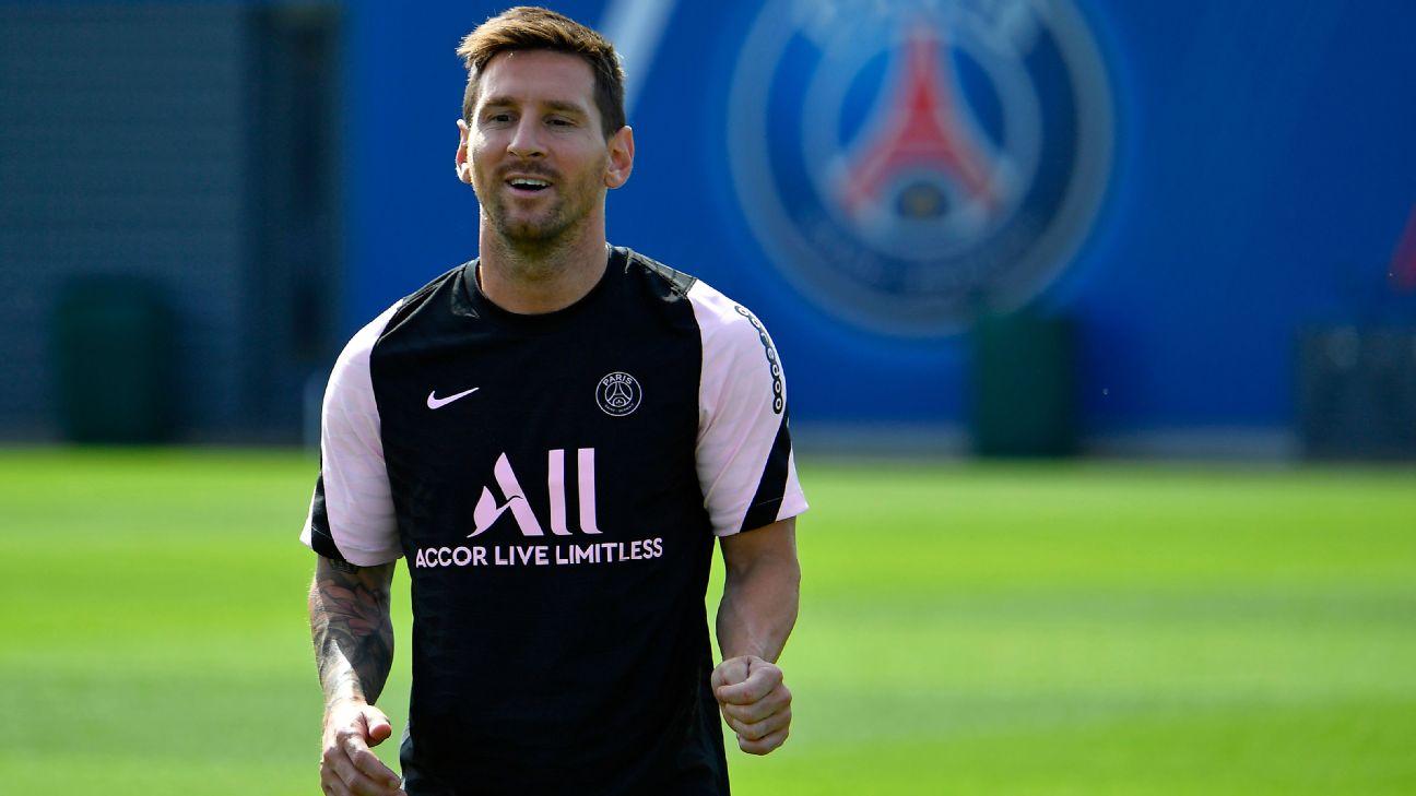 Lionel Messi durante treinamento do Paris Saint-Germain