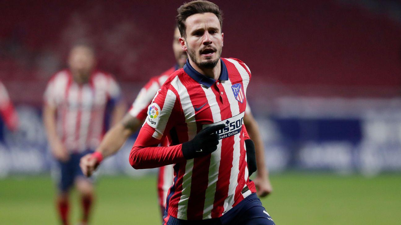 Saúl comemora após marcar para o Atlético de Madrid sobre o Sevilla