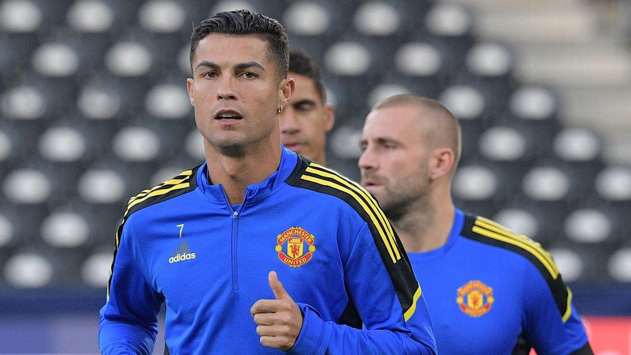 Cristiano Ronaldo durante treinamento do Manchester United
